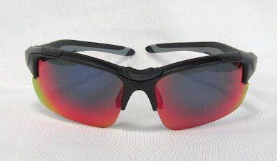 """sport sunglass, """"Matte black"""" color frame, TAC lenses with """"Blue Red"""" color """"REVO"""" coating."""