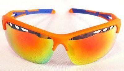 "sport sunglass, ""Matte Orange"" color frame, UV400 PC eccentric lenses with ""Red"" color ""REVO"" coating."