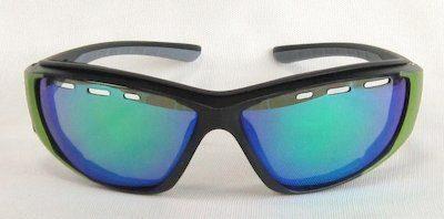 """sport sunglass, """"Matte-Black"""" color frame, TAC lenses with """"Green"""" color """"REVO"""" coating"""