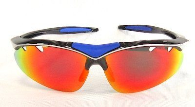 "sport sunglass, ""Pearly Black"" color frame, TAC lenses with ""Black-Red"" color ""REVO"" coating"