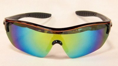 """sport sunglass, """"Shining-Black"""" color frame, UV400 PC eccentric lenses with """"Yellow"""" color """"Silver"""" coating"""