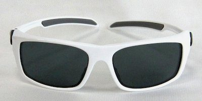 "sport sunglass, ""Shining-White"" color frame, UV400 PC eccentric lenses without coating"