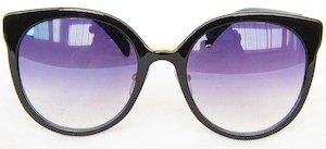 """round sunglass, UV400 PC eccentric lenses, Frame with """"Shining-Black """" color painting, Metal Temple with """" Golden"""" color"""