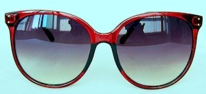 "sunglasses, UV400, "" Gradient-Red"" color ""Light-silver"" coating PC eccentric lenses, ""Transparent-Red"" color frame"