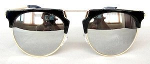 "sunglasses, UV400, PC lenses with ""White"" color ""Light-silver"" coating, ""Shining-Black"" color frame"