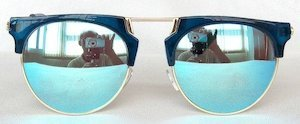 "sunglasses, UV400, PC Lenses with ""SKY-blue"" color ""Light-silver"" coating, Blue color frame."