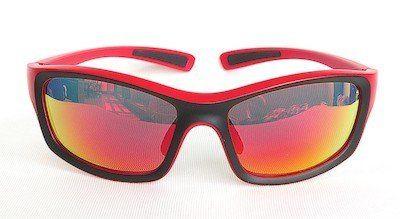 sunglasses, UV400, PC eccentric lenses, Black-Red color REVO coating, Combo colors frame