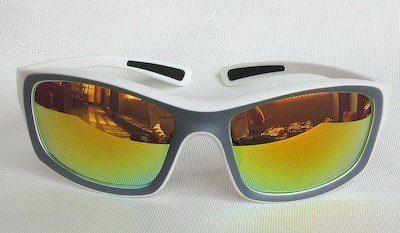sunglass, TR Frame, UV400, PC eccentric lenses with Orange color REVO coating.