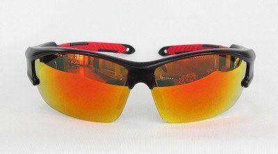 """sunglasses, UV400, """"Red"""" color """"REVO"""" coating, PC eccentric lenses, """"Matte - black"""" color frame"""