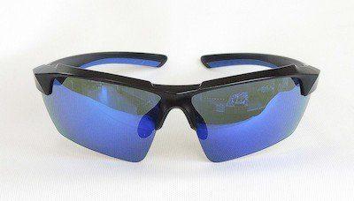 sunglasses, UV400, Blue color REVO coating, Matte - Black color frame, PC eccentric lenses