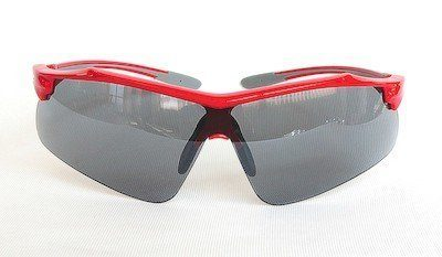 "sunglasses, UV400, ""Light-silver"" coating, PC eccentric lenses, ""shining-red"" color frame."