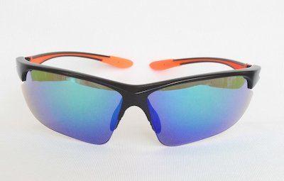 "sport sunglass, ""Shining-Black"" color frame, UV400 PC eccentric lenses with ""Green"" color ""REVO"" coating"