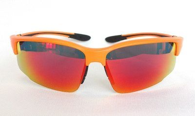 "sport sunglass, ""Matte-Orange"" color frame, UV400 PC eccentric lenses with ""Black and Red"" color ""REVO"" coating"