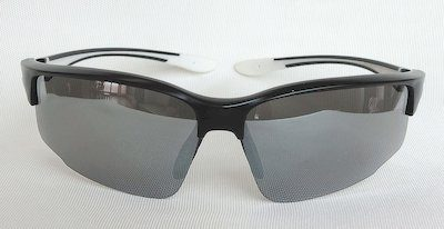 "sport sunglass, ""Matte-Black"" color frame, UV400 PC eccentric lenses with ""White"" color ""Silver"" coating"