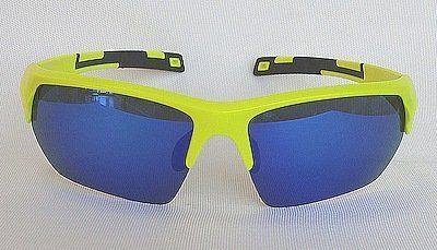 """sport sunglass, """"Fluorescent Yellow"""" color frame, UV400 PC eccentric lenses """"Blue"""" color """"REVO"""" coating"""