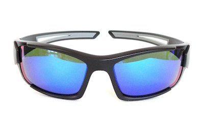 "sport sunglass, ""Sand-Black"" color frame, UV400 PC eccentric lenses with ""Green"" color ""REVO"" coating"
