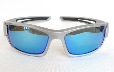 "sport sunglass, ""Sand-Aluminum"" color frame, UV400 PC eccentric lenses with ""Blue - White"" color ""REVO"" coating"