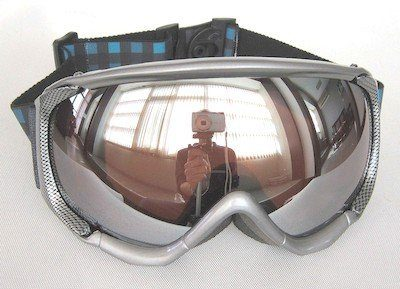 TPU goggles Aluminuim color, lens Mirror coated, PU foam Jacquard strap