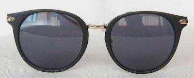 """round sunglass, UV400 PC eccentric lenses, Frame """"Matte-Black """" color painting, Metal Temple """" Golden"""" color"""