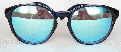"round sunglass, Frame ""Blue-water"" color painting, UV400 PC lenses ""Light - Silver"" color"