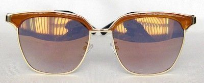 "square sunglass, UV400 PC eccentric lense with ""Gradient - Brown"" color, Metal Temple "" Golden"" color"