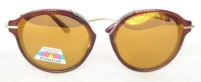 "round sunglass, TAC lenses "" Brown"" color coating, Metal temple "" Golden"" color"