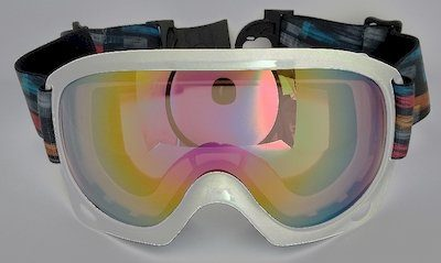 White TPU goggles, REVO lens, PU Foam,Thermal transfer strap