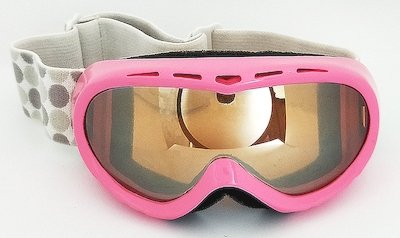 Pink TPU goggles, Mirror lens, Nylon Jacquard strap