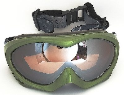 Army Green goggles, Double Lens mirror coated, PU foam