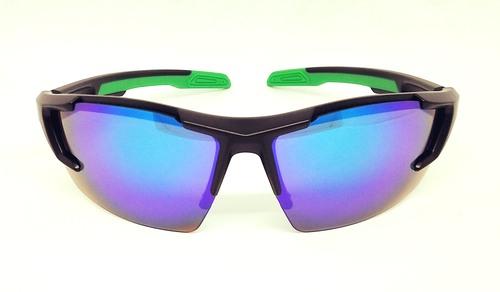 Matte black sport sunglasses, UV400 Green REVO eccentric lens