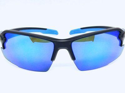 sport sunglasses, Matte black frame, Sky Blue REVO eccentric lens