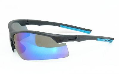UV400 eccentric sunglasses CG-PS-838-1matte black frame water blue Mirror lenses