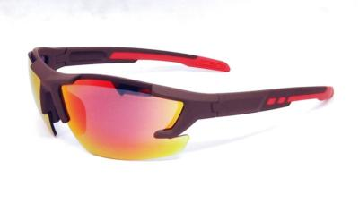 sunglasses, Brown elastic paint frame,  Black Red REVO lens, CG-W659-1