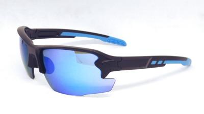 sport sunglasses, Matte black  frame,  Sky Blue color REVO lens, CG-W660-1-4