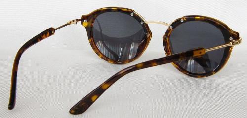 Golden metal Temple Tortoise shell paint round sunglasses CG58-1-3