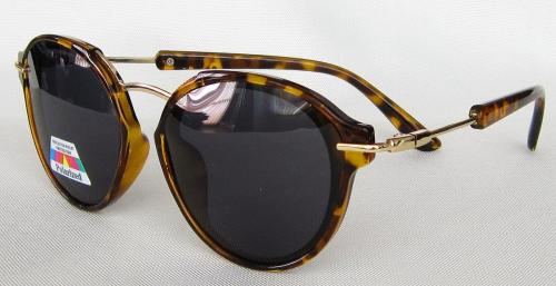 TAC Polarized lenses  Tortoise shell paint round sunglasses CG58-1-4